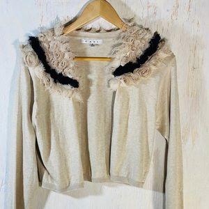CAbi Rosette Collar cotton blend  cardigan